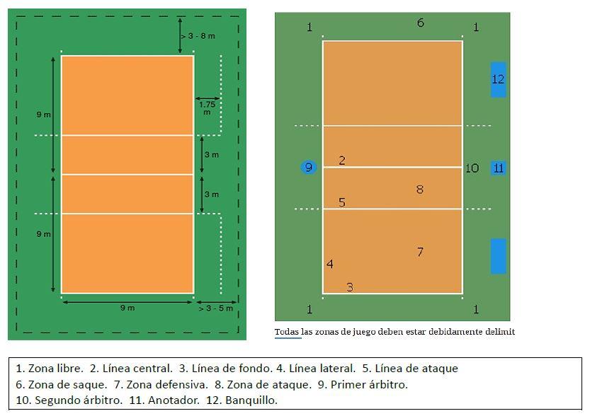 La cancha de voleibol y sus zonas